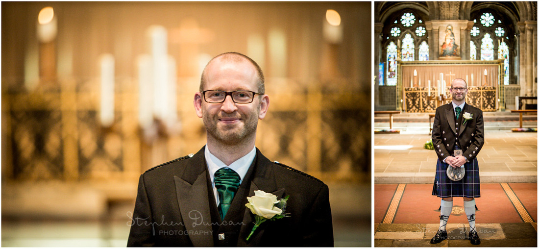 Colour photo of groom alone at front of church before ceremony