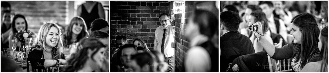 Black and white photos of wedding guests at Sopley Mill