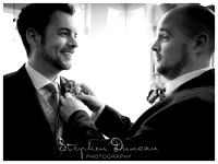 Groom & Best Man before wedding ceremony at Audleys Wood