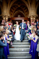 Winchester Guildhall Wedding Photography: Confetti thrown on the steps of Winchester Guildhall