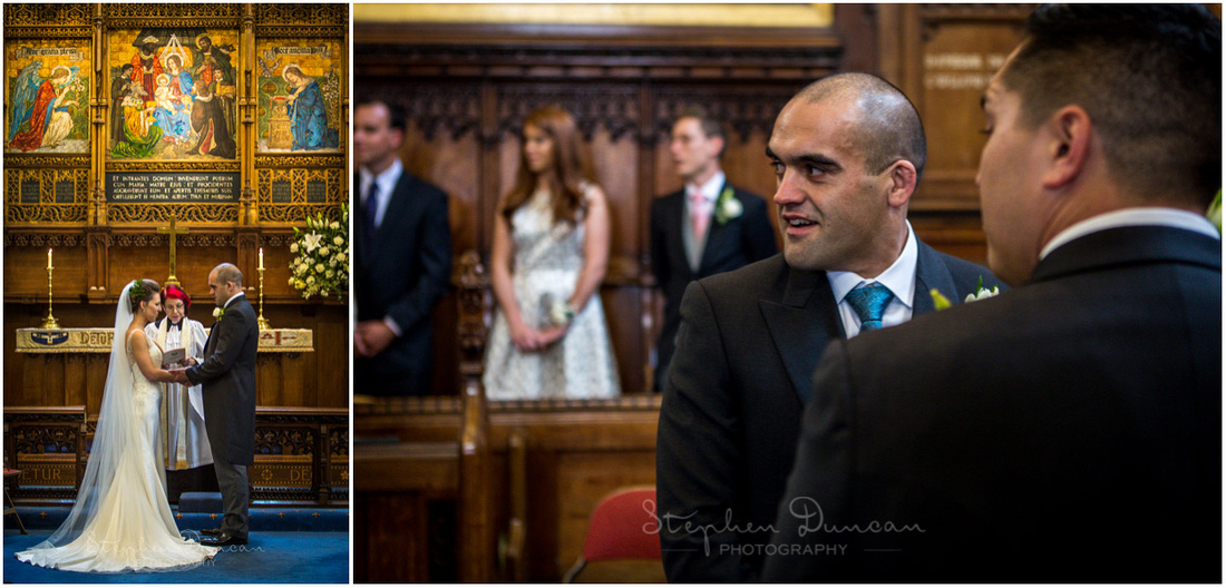 Bride and groom together during the ceremony at Christ's Chapel in Dulwich