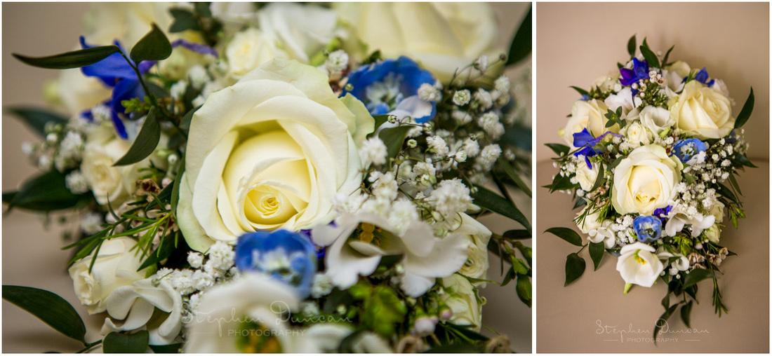 Bridal bouquet with blue and white colour scheme
