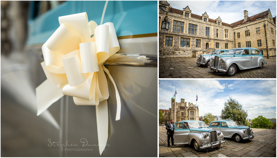 The wedding cars arrive and park in the courtyard directly outside the Great Hall, signalling that the ceremony will very shortly begin