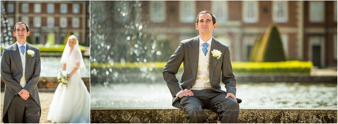 Groom colour portrait by water fountain