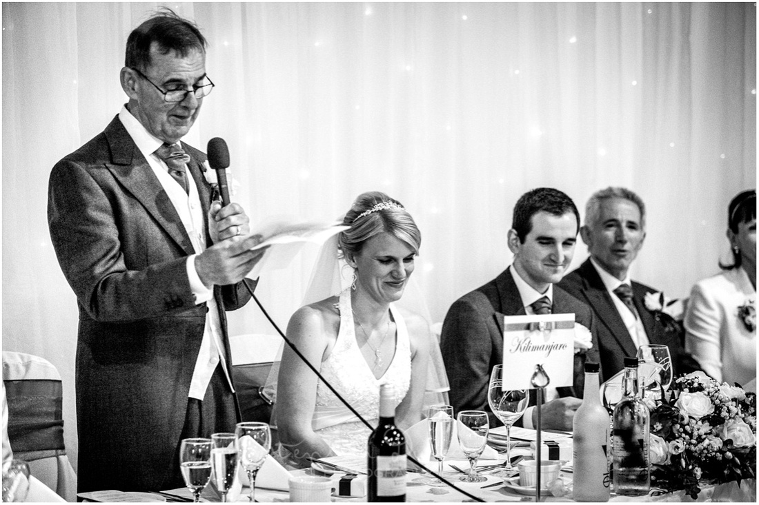 The father of the bride traditionally makes the opening speech