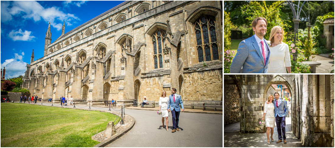 The bride and groom walk past the cloisters on their way towards the restaurant following their wedding in the Basing Room