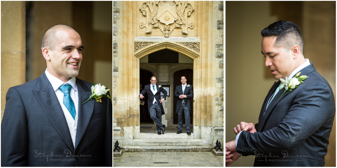 The groom and his best man wait at the entrance to the chapel as their guests arrive for the start of the ceremony