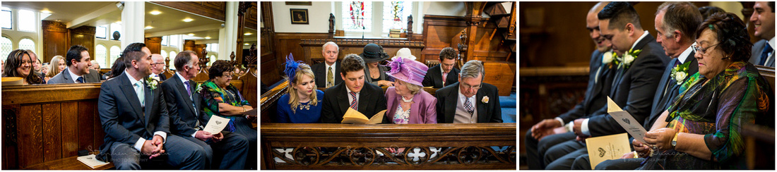 Friends and family take their seats in Dulwich Christ's Chapel ready for the wedding ceremony