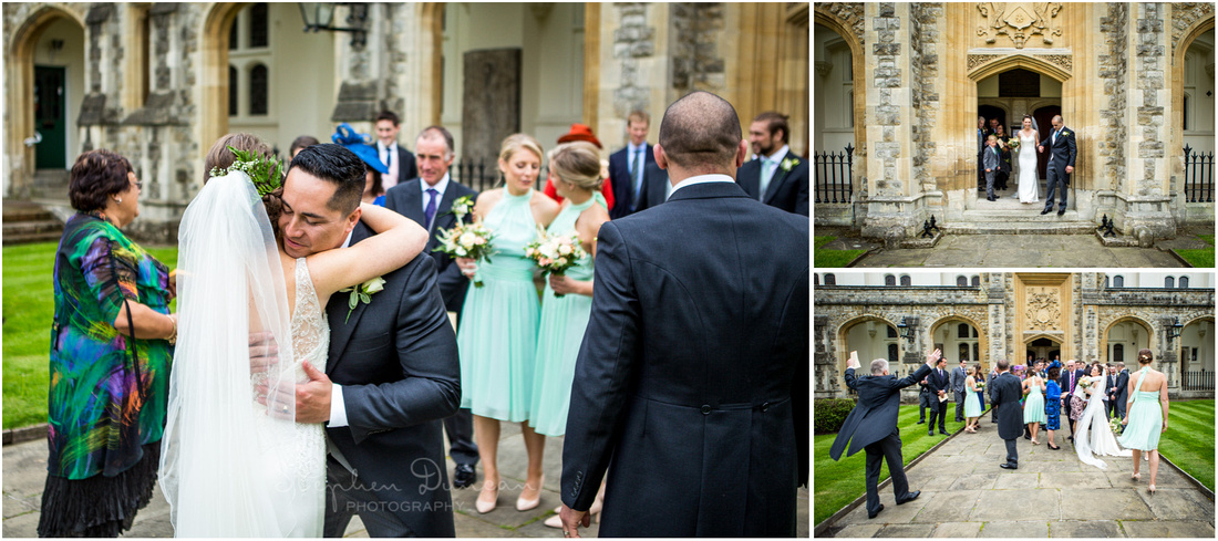 The best man congratulated the bride as wedding guests emerge from the chapel