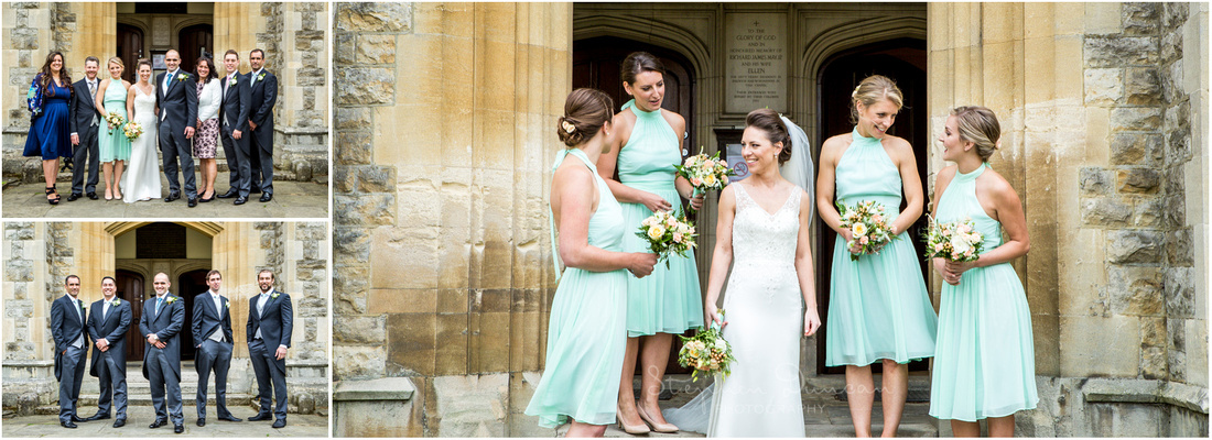 Smaller group photos with family and bridal party in the church steps