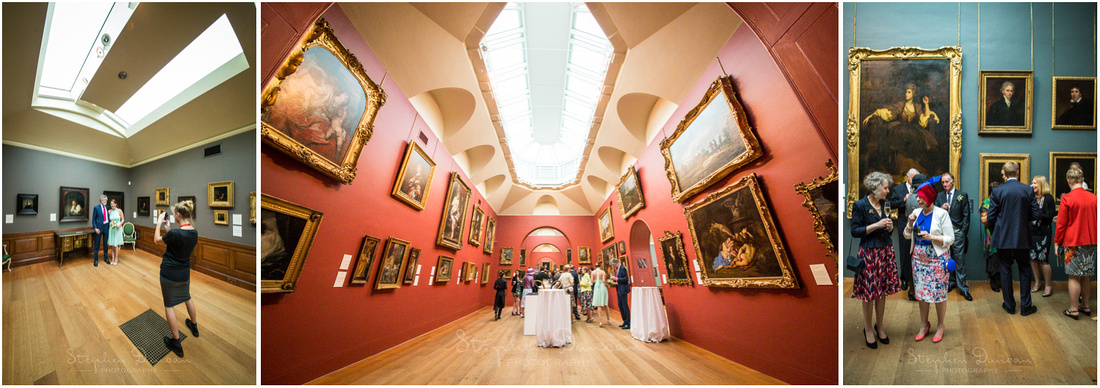 Natural light photography inside Dulwich Picture Gallery drinks reception