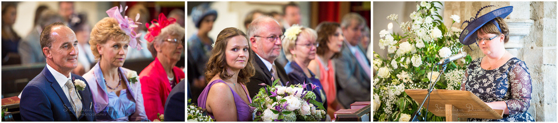 Wedding guests watch on during the readings