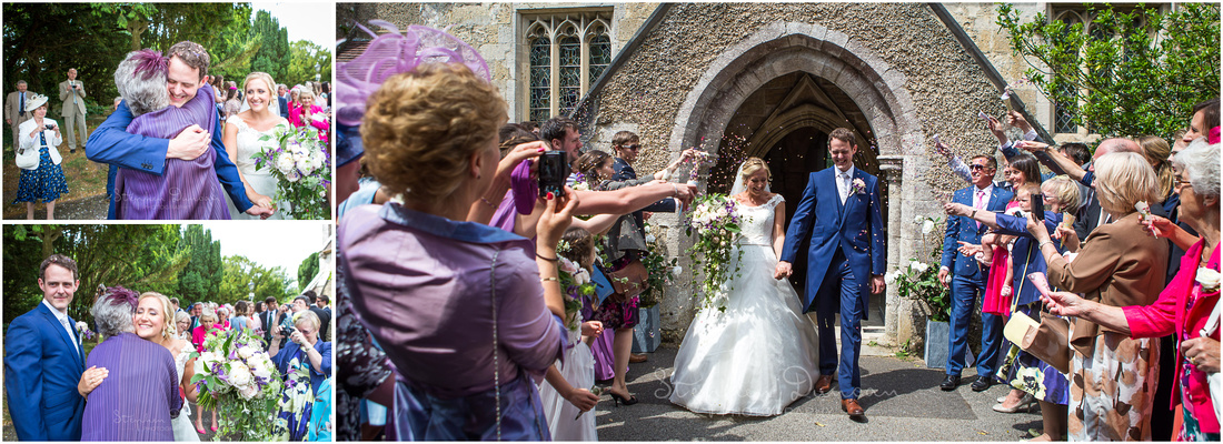Bride and groom meet their guests