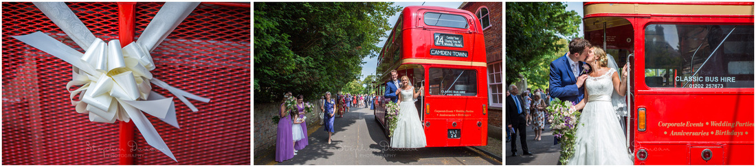 A Routemaster bus was arranged to transport guests between the church and the reception venue at Sopley Mill