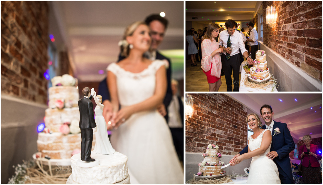 Bride and groom cut the cake at the start of their evening party