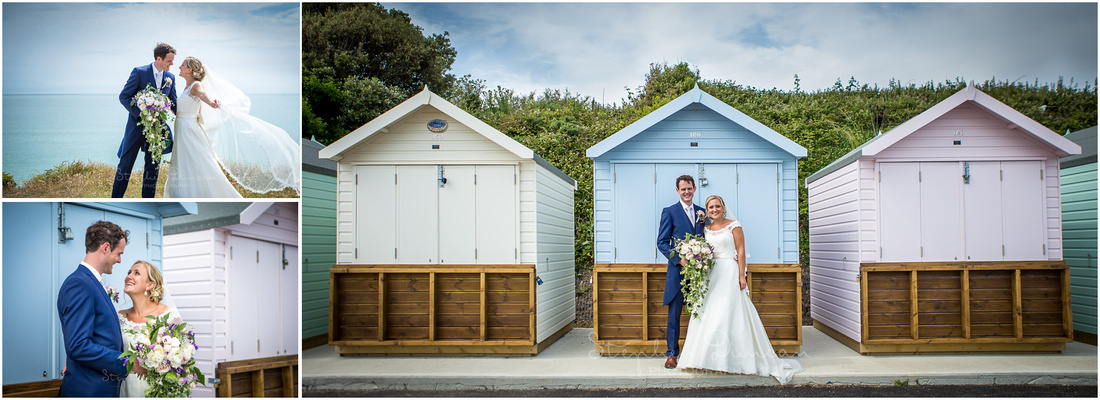 Bride and groom in front of colourful beach huts on Hampshire coast near Christchurch