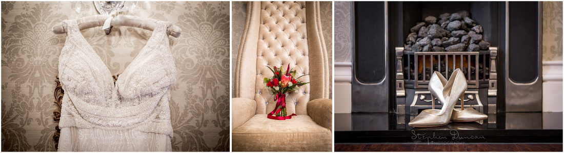 Dress, flowers and wedding shoes displayed in suite at Dorchester Hotel London