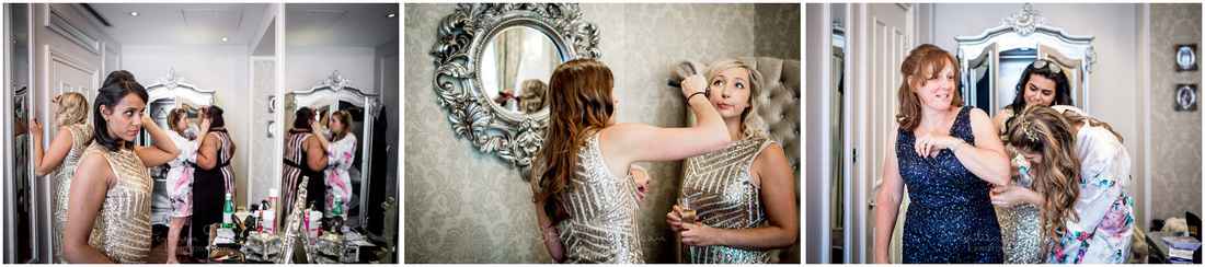 Bridesmaids finishing hair and make-up at Dorchester Hotel Cora Pearl Suite