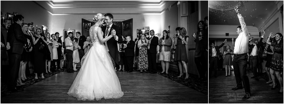 The newly-married couple take to the dancefloor for the first time as husband and wife