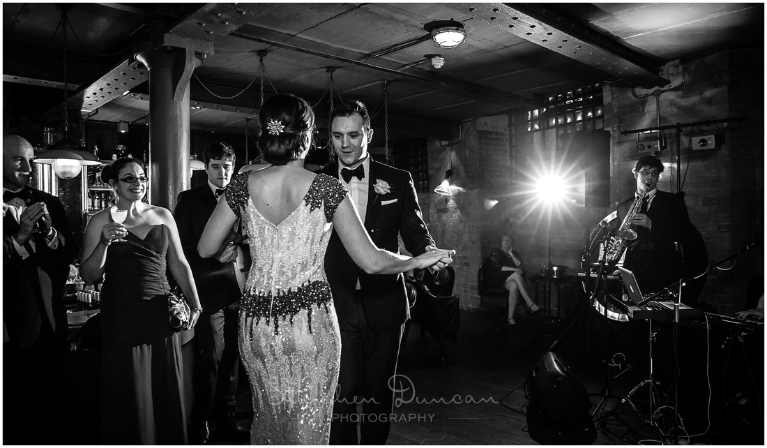 Bride and groom take to the dancefloor for the first time as husband and wife