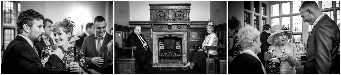 Black and white photos of guests at wedding reception