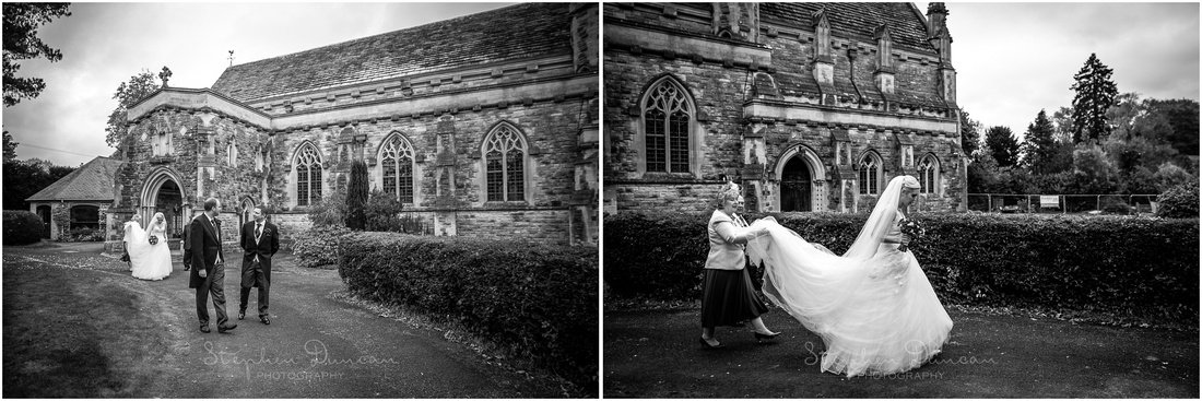 Bride and groom leave the church and make their way to the wedding car