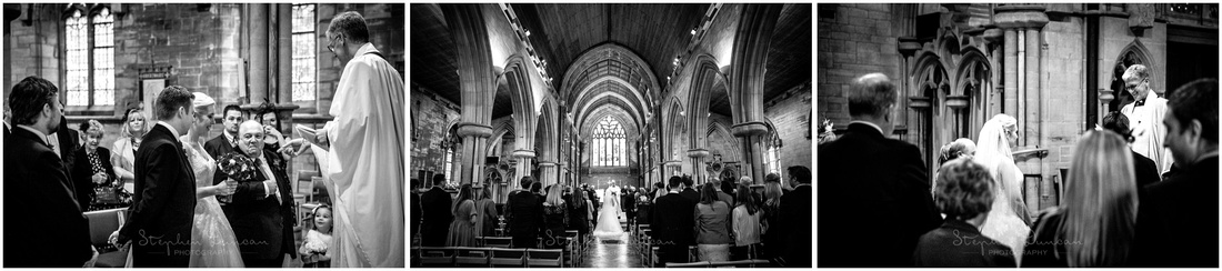 Bride arrives at front of church for the start of the marriage