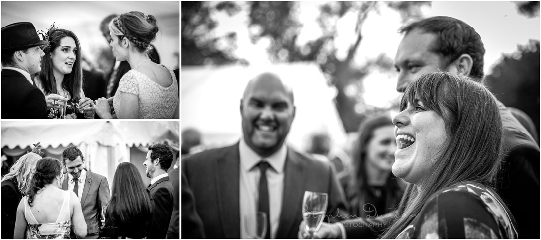 Black and white documentary photos of wedding guests at reception
