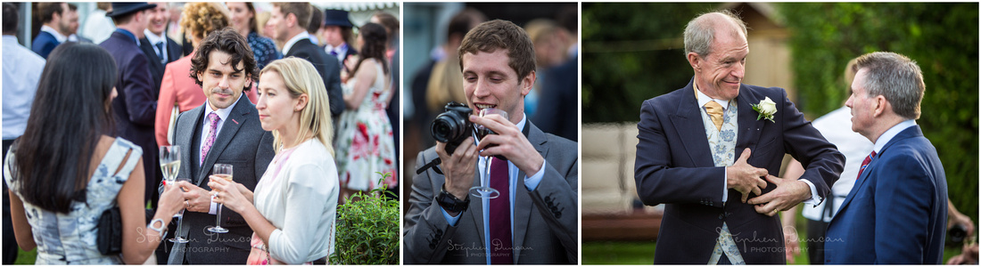 Candid photographs of wedding guests at reception