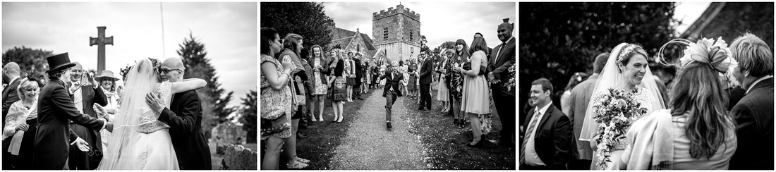 Black and white photographs outside church following wedding ceremony