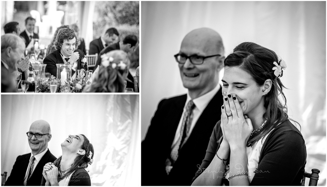 Laughter and smiles during the wedding breakfast