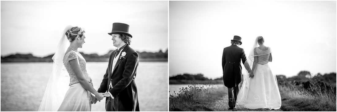 Portrait session with bride and groom by Lymington waterfront