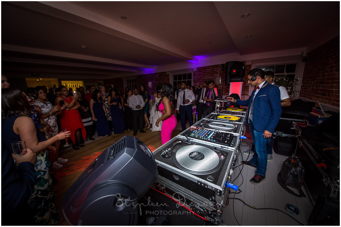 DJs provide party music at Sopley Mill Christchurch wedding reception
