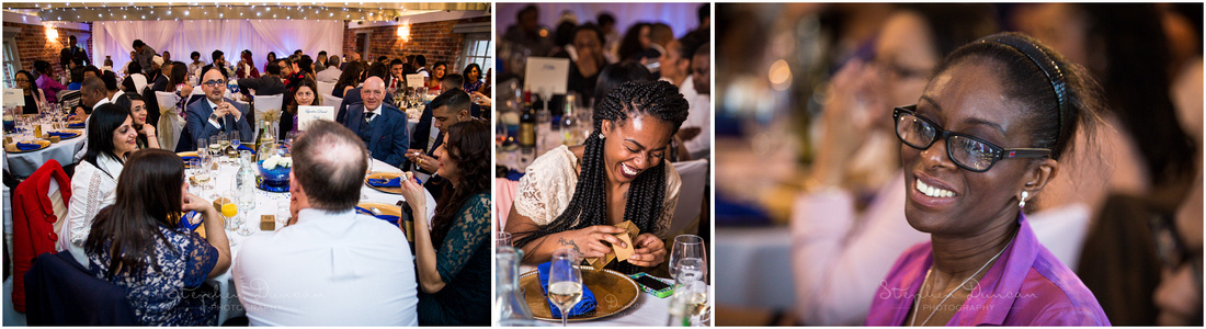 Relaxed images of guests during wedding reception