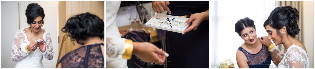The bride receives a gift from her bridesmaids before heading to the ceremony
