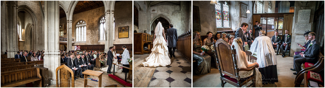The bride and groom step into a side-chapel to sign the marriage register