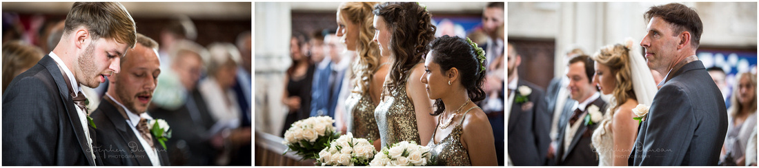 Wedding party candid photographs during hymns