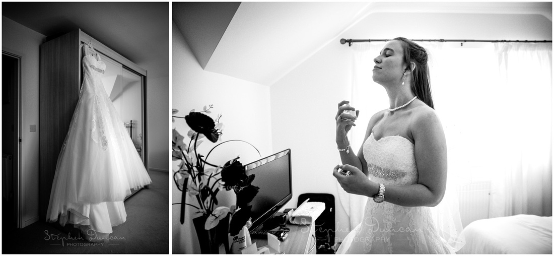 Black and white images of dress hanging, and bride applying perfume