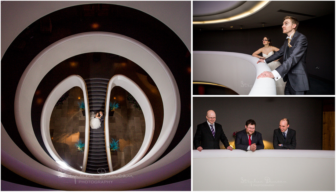 Bride and groom on staircase photographed from above