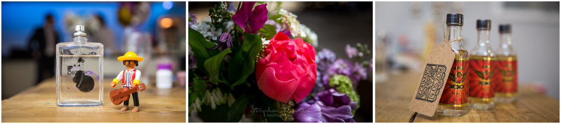 Photographs of flowers and details during bridal preparations