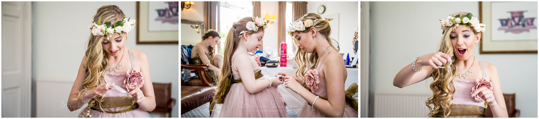 The bride hands gifts to bridesmaids and flower girls