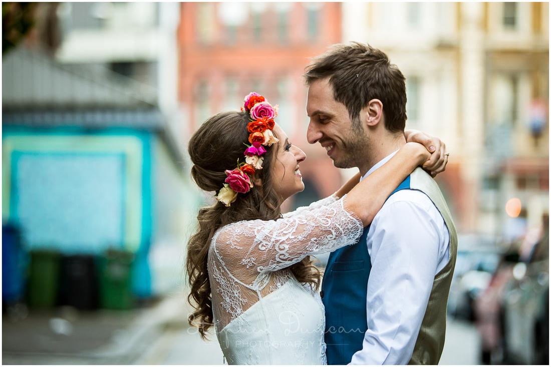 Wedding couple in London street