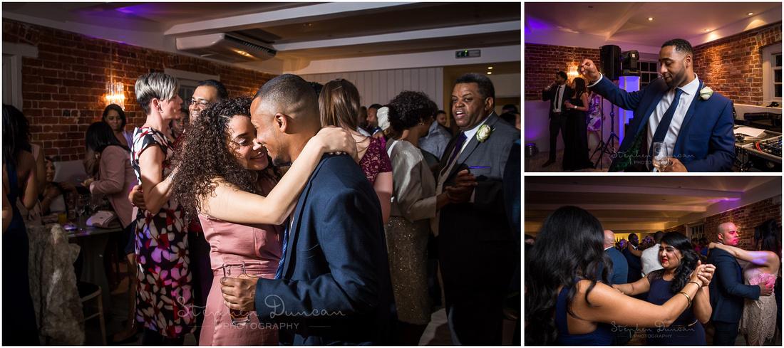 Wedding guests join bride and groom dancing