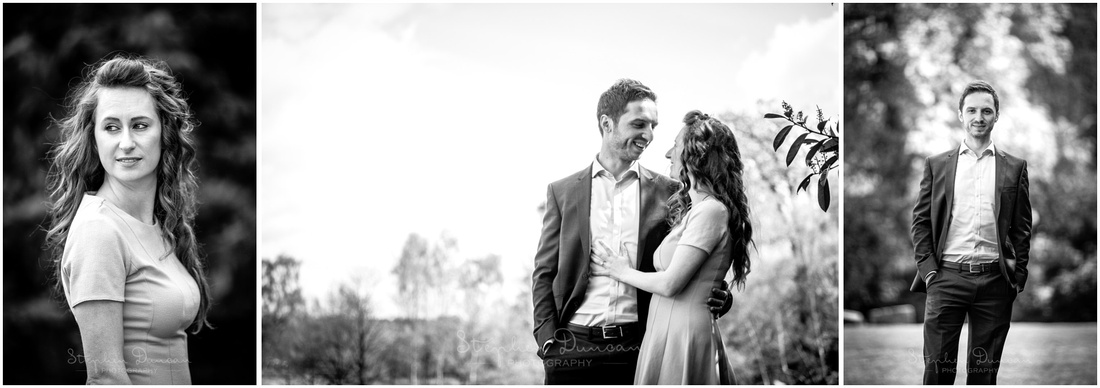 Black and white portraits of bride and groom separately and together