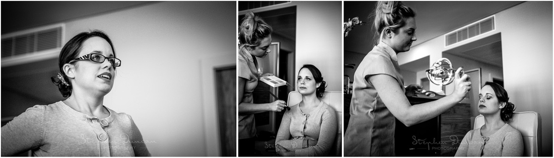 Black and white photo of bridal preparation