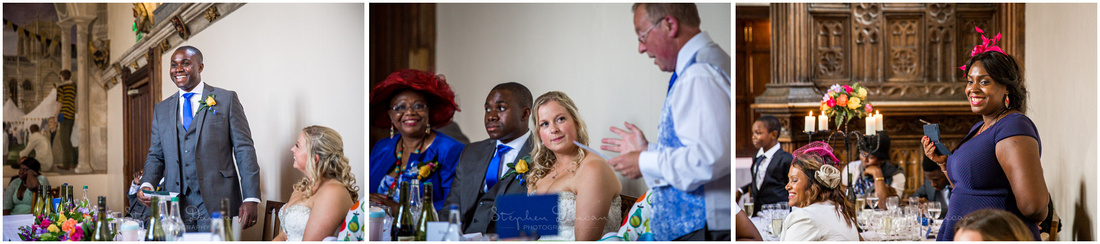 The groom stands to make his speech