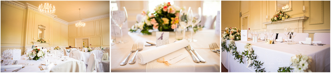 Details of the dining room before the wedding breakfast commences