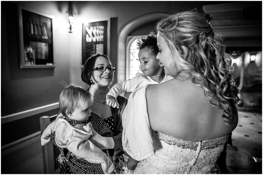 Bride and daughter during the wedding reception