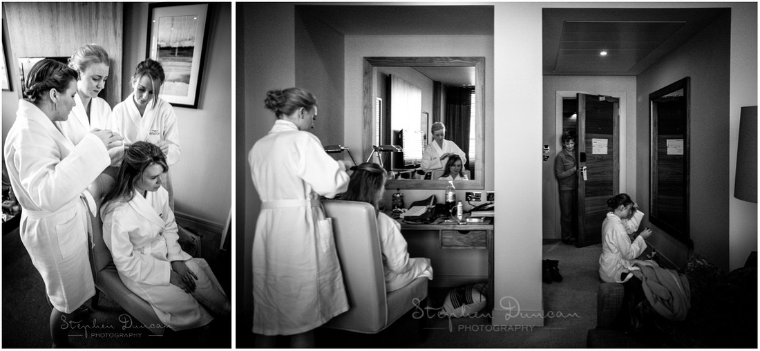 Black and white photo of bridesmaids getting ready