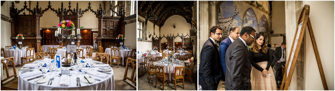 The school's formal dining hall is the setting for the wedding breakfast